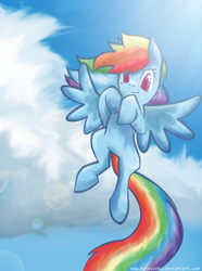 Size: 632x851 | Tagged: safe, artist:ketsuzoku, rainbow dash, cloud, female, flying, long tail, looking at you, sky, smiling, solo, spread wings, wings