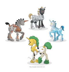 Size: 1280x1339 | Tagged: safe, artist:almairis, golem, ice pony, regice, regigigas, regirock, registeel, genderless, legendary pokémon, metal pony, pokémon, ponified, ponymon, quartet, rock pony, simple background, transparent background