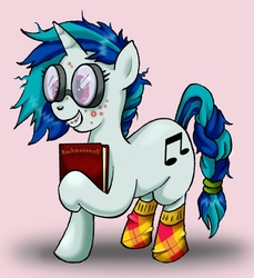 Size: 503x548 | Tagged: safe, artist:susiebeeca, dj pon-3, vinyl scratch, acne, braces, braid, checkered socks, clothes, glasses, messy mane, nerd, socks, solo