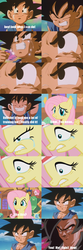 Size: 1280x3840   Tagged: safe, edit, edited screencap, screencap, fluttershy, hurricane fluttershy, stare master, comic, crying, dragon ball, dragonball gt, goku, manly tears, overreaction, screencap comic, son goku, super saiyan 4, this might end in pain