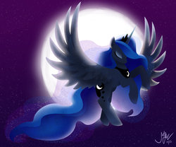 Size: 1024x853 | Tagged: alicorn, artist:joellethenose, eyes closed, female, flying, jewelry, mare, moon, night, pony, princess luna, regalia, safe, signature, sky, solo, spread wings, stars, wings