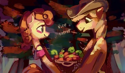 Size: 3448x2011 | Tagged: safe, artist:holivi, braeburn, carrot top, golden harvest, carrot, carrotburn, female, high res, male, shipping, straight