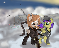 Size: 4000x3300   Tagged: safe, artist:colgatefim, oc, oc only, oc:sunset sherbet, pegasus, pony, fallout equestria, armor, cloudship, enclave, enclave armor, enclave raptor, fallout, fanfic, fanfic art, female, grand pegasus enclave, hat, hooves, mare, open mouth, power armor, powered exoskeleton, raptor battleship, wings