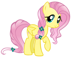 Size: 900x692 | Tagged: safe, artist:willowtails, fluttershy, crystal pony, pegasus, pony, the crystal empire, spoiler:s03, alternate hairstyle, crystal empire, crystallized, female, flower, flower in hair, mare, raised hoof