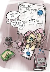 Size: 550x788 | Tagged: safe, artist:noben, fluttershy, book, cheese puffs, chocolate milk, d20, dice, game, glasses, parody, pathfinder, reference sheet, roleplaying, rpg, table, tabletop game