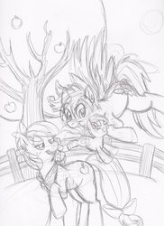 Size: 900x1235 | Tagged: safe, artist:enigmaticfrustration, apple bloom, scootaloo, daughter, female, lesbian, magical lesbian spawn, offspring, parent:apple bloom, parent:scootaloo, parents:scootabloom, pencil drawing, scootabloom, shipping, sketch, sweet apple acres, traditional art