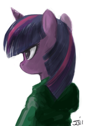 Size: 873x1280 | Tagged: safe, artist:johnjoseco, twilight sparkle, clothes, hoodie, solo