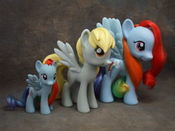 Size: 800x600 | Tagged: safe, derpy hooves, rainbow dash, pony, brushable, irl, official, photo, size comparison, toy