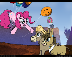 Size: 900x720 | Tagged: safe, artist:ladyanidraws, cranky doodle donkey, matilda, pinkie pie, donkey, earth pony, pony, balloon, crankilda, parody, then watch her balloons lift her up to the sky, up