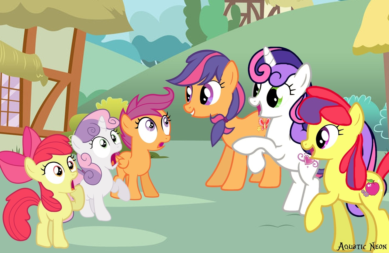 123075 Safe Artist Aquaticneon Apple Bloom Apple Spice Scootaloo Scootaloo G3 Sweetie Belle Sweetie Belle G3 Earth Pony Pegasus Pony Unicorn Cutie Mark Crusaders Female Filly G3 G3 To G4 G4 Generation Glittery cutie mark with name. earth pony pegasus pony unicorn