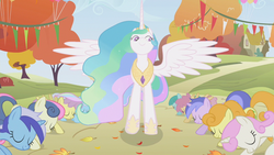 Size: 640x360 | Tagged: safe, screencap, amethyst star, bon bon, carrot top, golden harvest, minuette, princess celestia, sparkler, sweetie drops, alicorn, earth pony, pegasus, pony, unicorn, swarm of the century, female, mare