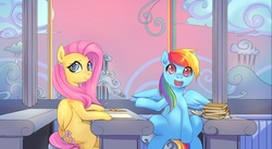 Size: 1280x701 | Tagged: safe, artist:bakki, fluttershy, rainbow dash, pegasus, pony, chair, cloudsdale, duo, duo female, dusk, female, flight school, looking at you, mare, open mouth, paper, quill, rainbow waterfall, school, sitting, sky, smiling, spread wings, table, textbook, wings