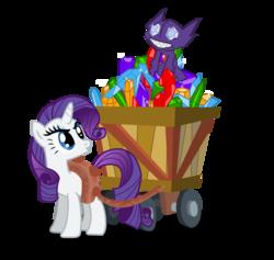Size: 1132x1072   Tagged: safe, artist:seaandsunshine, rarity, pony, sableye, unicorn, annoyed, cart, crossover, duo, eating, female, gem, harness, mare, pokémon, simple background, tack, transparent background, vector