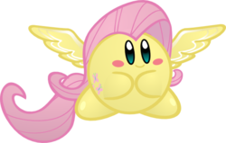 Size: 576x367 | Tagged: artist:jrk08004, crossover, cute, fluttershy, kirby, kirbyfied, kirby fluttershy, nintendo, parody, safe, simple background, solo, species swap, transparent background, video game