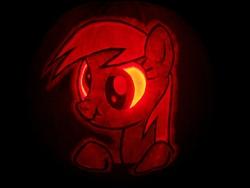 Size: 3072x2304   Tagged: safe, artist:elviswjr, derpy hooves, pegasus, pony, female, high res, jack-o-lantern, mare, pumpkin, scrunchy face