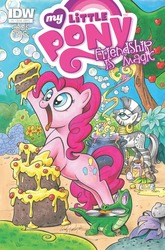 Size: 674x1023 | Tagged: artist:andypriceart, comic, cover, gummy, idw, idw advertisement, official, official comic, pinkie pie, safe, zebra, zecora