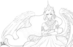 Size: 1224x792 | Tagged: artist:spoonfulofcats, eared humanization, horned humanization, humanized, lineart, monochrome, princess celestia, safe, simple background, solo, winged humanization