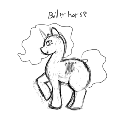 Size: 3000x3000 | Tagged: safe, artist:stonershy, oc, oc only, oc:boiler horse, object pony, original species, boiler, chubby, high res, monochrome, ponified, solo, steam engine