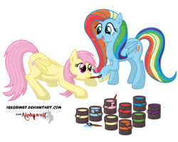 Size: 1500x1200 | Tagged: safe, artist:isegrim87, fluttershy, rainbow dash, paint, paint in hair, paint on feathers, paint on fur, painting characters, recolor, role reversal
