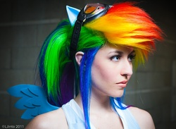 Size: 900x657 | Tagged: artist:scruffyrebel, cosplay, human, irl, irl human, photo, rainbow dash, safe, solo