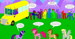 Size: 1700x900 | Tagged: alicorn, artist:nebulastars, crossover, derpy hooves, doctor whooves, magic school bus, pinkie pie, ponified, pony, pun, safe, time turner, twilight sparkle