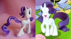 Size: 800x439 | Tagged: comparison, gameloft, irl, photo, quick, quick toys, rarity, safe, toy