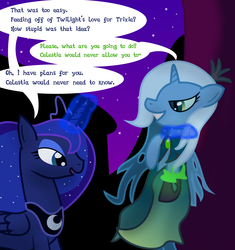 Size: 1233x1311 | Tagged: artist:dazed-and-wandering, ask stalker trixie, princess luna, queen chrysalis, safe, trixie