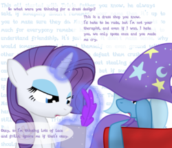 Size: 1280x1106 | Tagged: ask stalker trixie, rarity, safe, trixie