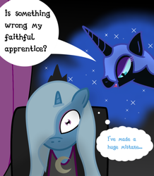 Size: 872x1001 | Tagged: artist:dazed-and-wandering, ask stalker trixie, nightmare moon, safe, trixie