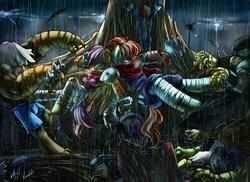 Size: 1647x1200 | Tagged: safe, artist:atryl, rainbow dash, scootaloo, oc, anthro, griffon, unguligrade anthro, fight, ponified, rain, storm, strider hiryu, wonderbolts uniform