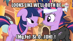 Size: 640x360 | Tagged: safe, edit, edited screencap, screencap, twilight sparkle, pony, unicorn, it's about time, bandage, bedroom eyes, caption, catsuit, chemistry, chemistry joke, cummingtonite, female, future twilight, hub logo, image macro, mare, pun, rock pun, scar, science, self ponidox, time travel, unicorn twilight
