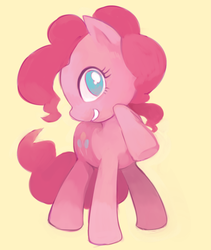 Size: 540x640 | Tagged: safe, artist:sasasami, pinkie pie, earth pony, pony, cute, diapinkes, female, mare, no pupils, profile, simple background, smiling, solo, yellow background