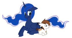 Size: 1662x884 | Tagged: safe, artist:thedeseasedcow, pipsqueak, princess luna, alicorn, earth pony, pony, colt, duo, ethereal mane, female, foal, g4, mare, pinto, prone, simple background, transparent background
