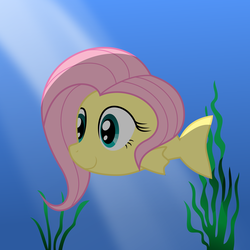 Size: 6000x6000 | Tagged: absurd res, artist:johnjoseco, artist:mamandil, fish, fishified, flutterfish, fluttershy, safe, species swap, underwater, watershy