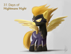 Size: 800x600 | Tagged: safe, artist:raikoh, spitfire, pegasus, pony, 31 days of nightmare night, clothes, costume, goggles, halloween, shadowbolts, shadowbolts costume, spread wings, wings