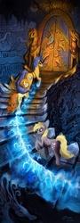 Size: 800x2210 | Tagged: safe, artist:ziom05, carrot top, derpy hooves, golden harvest, oc, oc:windigo queen, pegasus, pony, windigo, derpy's and carrot top's journey, door, female, ice, mare, stairs