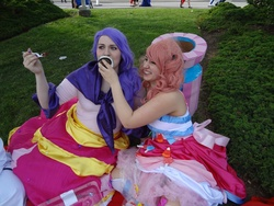 Size: 4608x3456 | Tagged: safe, artist:zombiechococherry, pinkie pie, rarity, human, anime north, cosplay, craft, cupcake, food, irl, irl human, party cannon, photo