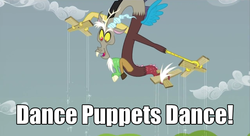 Size: 680x370   Tagged: safe, screencap, discord, draconequus, the return of harmony, caption, dance puppets dance, image macro, male, marionette, meme, puppet strings, puppeteer, solo