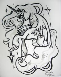 Size: 2450x3069   Tagged: safe, artist:alumx, princess celestia, alicorn, pony, commission, female, monochrome, sketch, solo, traditional art