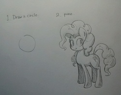 Size: 1139x894 | Tagged: safe, artist:discommunicator, pinkie pie, first you draw a circle, how to draw, how to draw an owl meme, ironic tutorial, monochrome, pencil drawing, pone, traditional art, tutorial