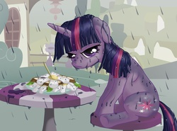 Size: 1100x813 | Tagged: safe, artist:starbat, twilight sparkle, pony, unicorn, the ticket master, annoyed, daffodil and daisy sandwich, female, floppy ears, food, frown, glare, grumpy, looking at you, mare, rain, sandwich, scene interpretation, sitting, solo, stool, table, twilight is not amused, unamused, unicorn twilight, wet, wet mane