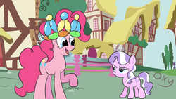 Size: 1920x1080 | Tagged: balloon, diamond tiara, earth pony, filly, pinkie pie, pony, safe