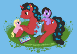 Size: 1500x1062 | Tagged: artist:sailboatsandpirates, book, cute, family, flower, flower in hair, flower in mouth, foal, grin, hug, leaning, mouth hold, oc, oc only, pony, prone, safe, smiling, unicorn