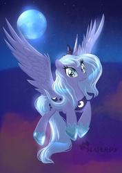 Size: 480x679 | Tagged: artist:seagerdy, flying, moon, princess luna, safe, solo