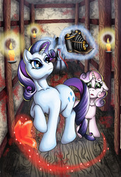Size: 1072x1560 | Tagged: artist:cbs, blood, butterfly, camera, crimson butterfly, crossover, fatal frame, hanging (by neck), noose, rarity, safe, sweetie belle