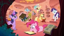 Size: 2400x1350   Tagged: safe, applejack, fluttershy, pinkie pie, rainbow dash, rarity, spike, twilight sparkle, dragon, earth pony, pegasus, pony, unicorn, book, bookshelf, female, golden oaks library, ladder, library, magic, male, mane seven, mare, official, open book, raised hoof, reading, stairs, telekinesis, unicorn twilight