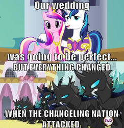 Size: 591x607 | Tagged: artist:warriorsparrow, changeling, meme, princess cadance, safe, shining armor, text