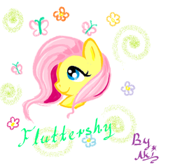 Size: 752x704 | Tagged: artist:akirabk, butterfly, fluttershy, looking up, ms paint, name, portrait, profile, safe, solo