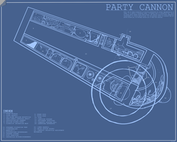 Size: 2000x1600 | Tagged: safe, artist:doctorpepperphd, blueprint, party cannon, weapon