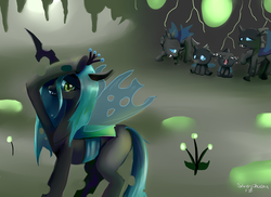 Size: 800x583 | Tagged: artist:incinerater, changeling, queen chrysalis, safe